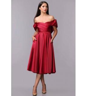 Rochie Nalia din tafta cu corset și fustă cloș