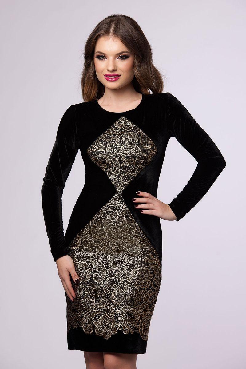 rochie eleganta cu catifea si dantela