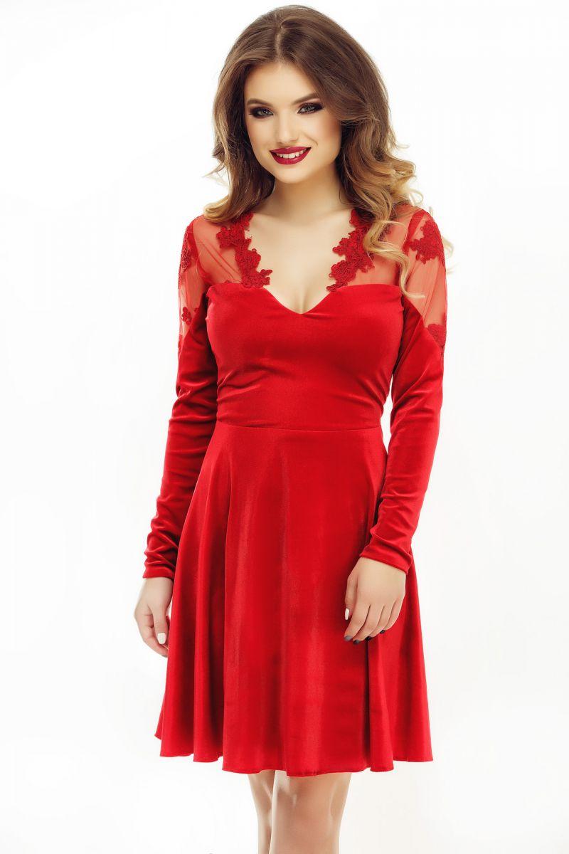rochie rosie de seara scurta