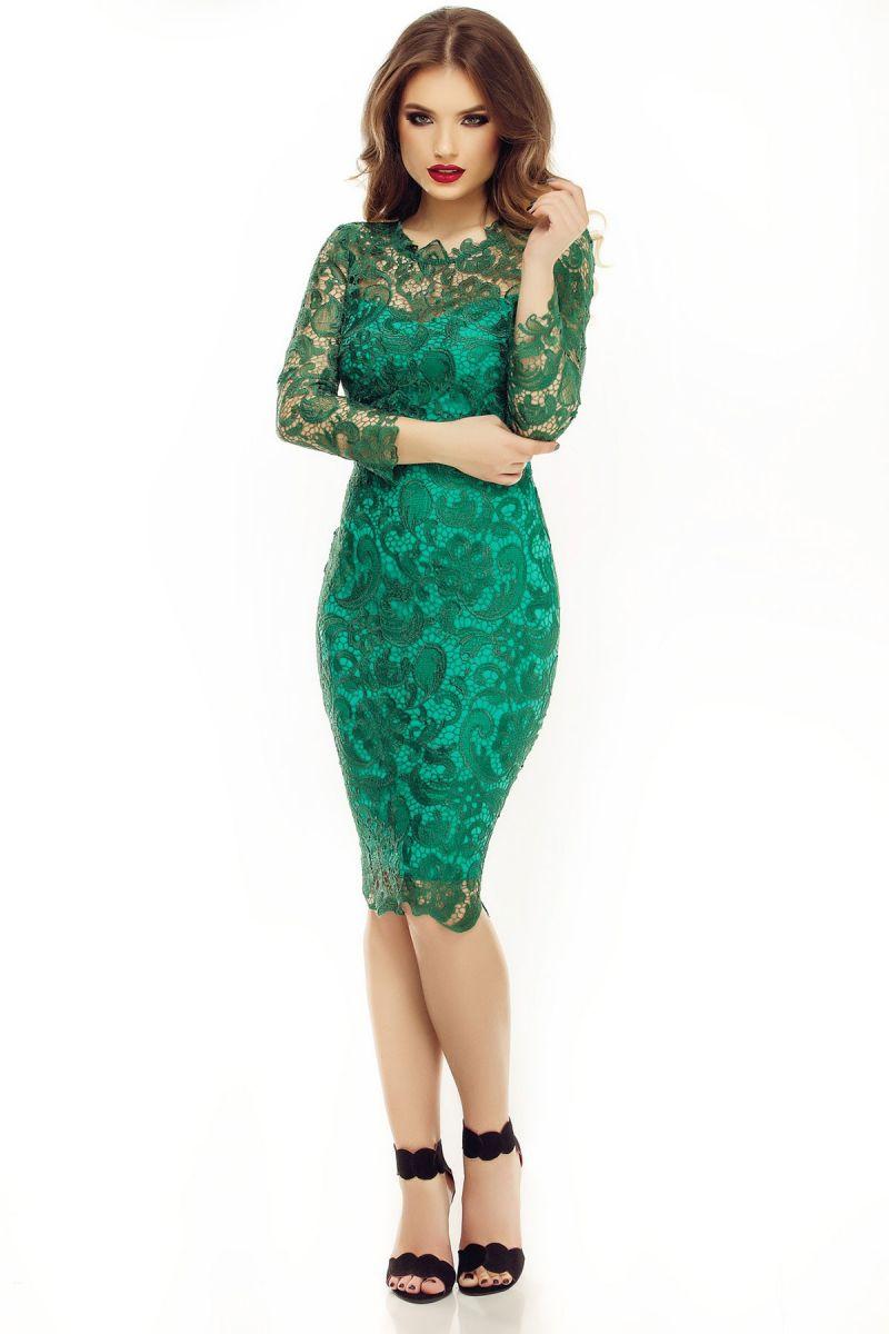 rochie midi eleganta din dantela verde