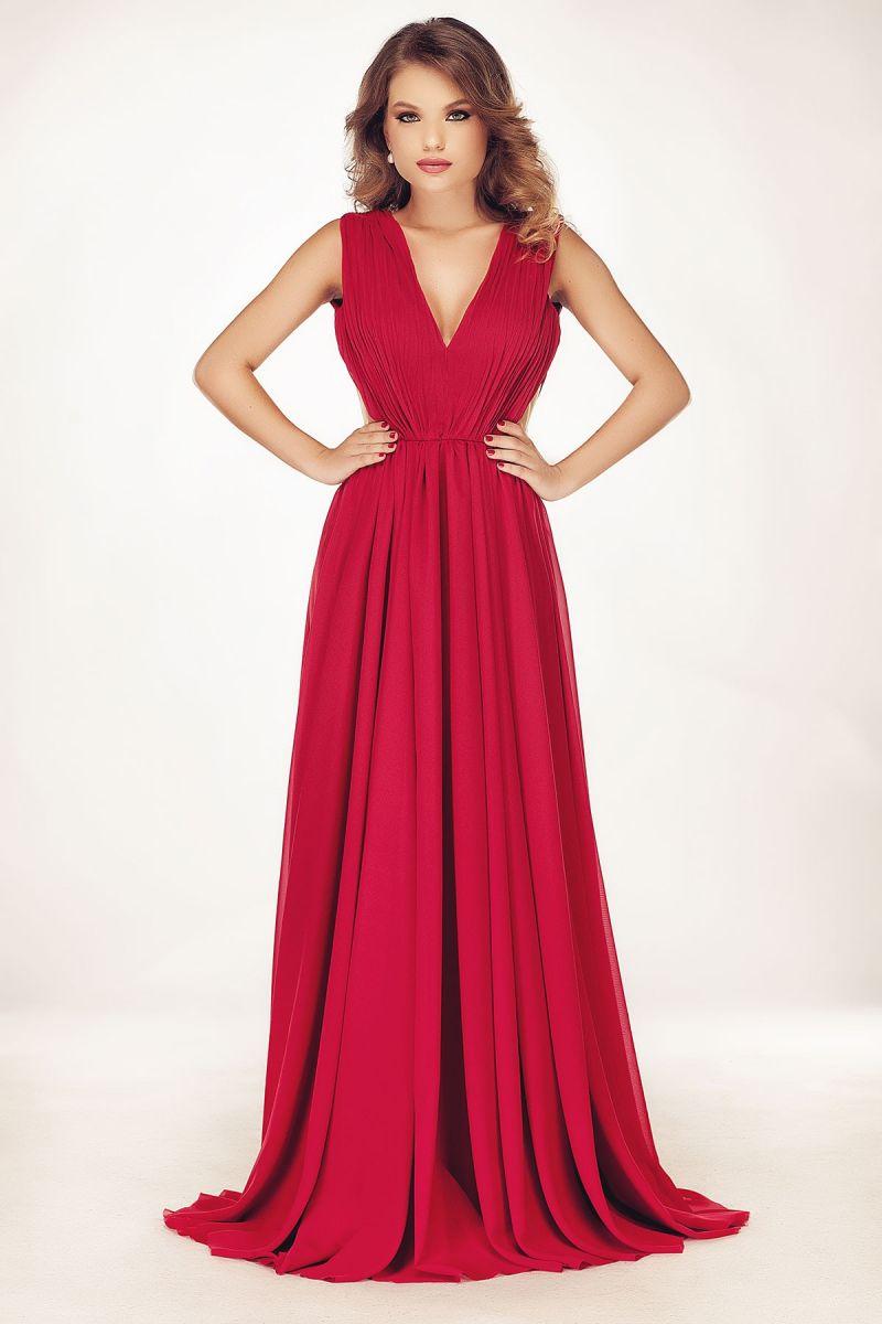 rochie-rosie-lunga-de-seara