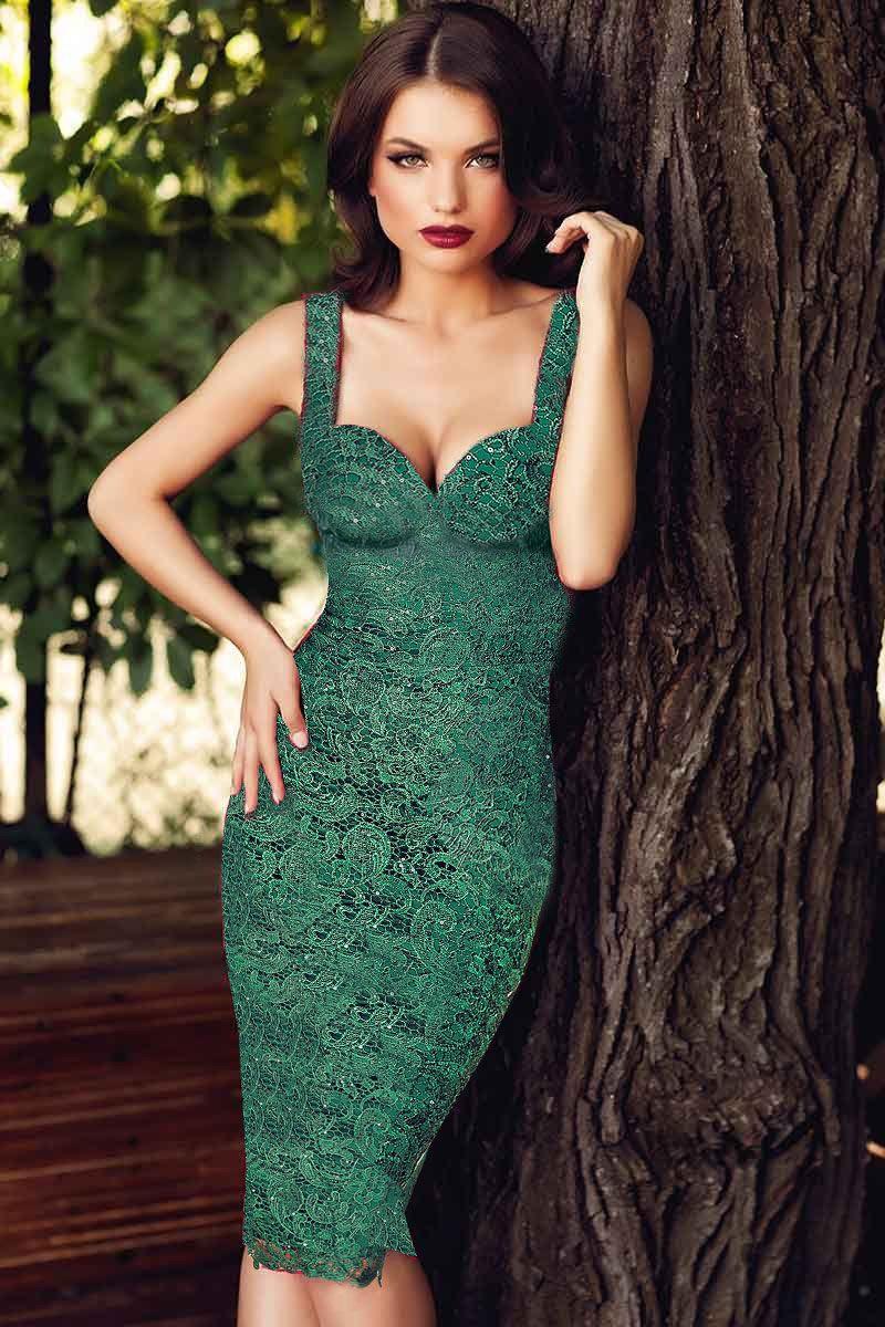rochie-verde-dantela