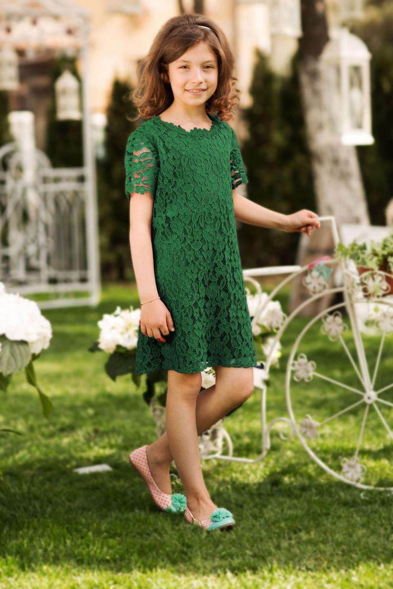 rochie-de-copii-verde-dantela