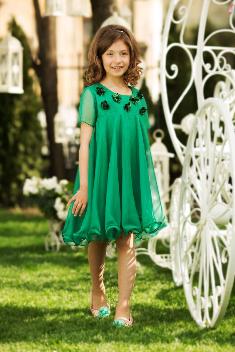 rochie-de-copii-verde-voal
