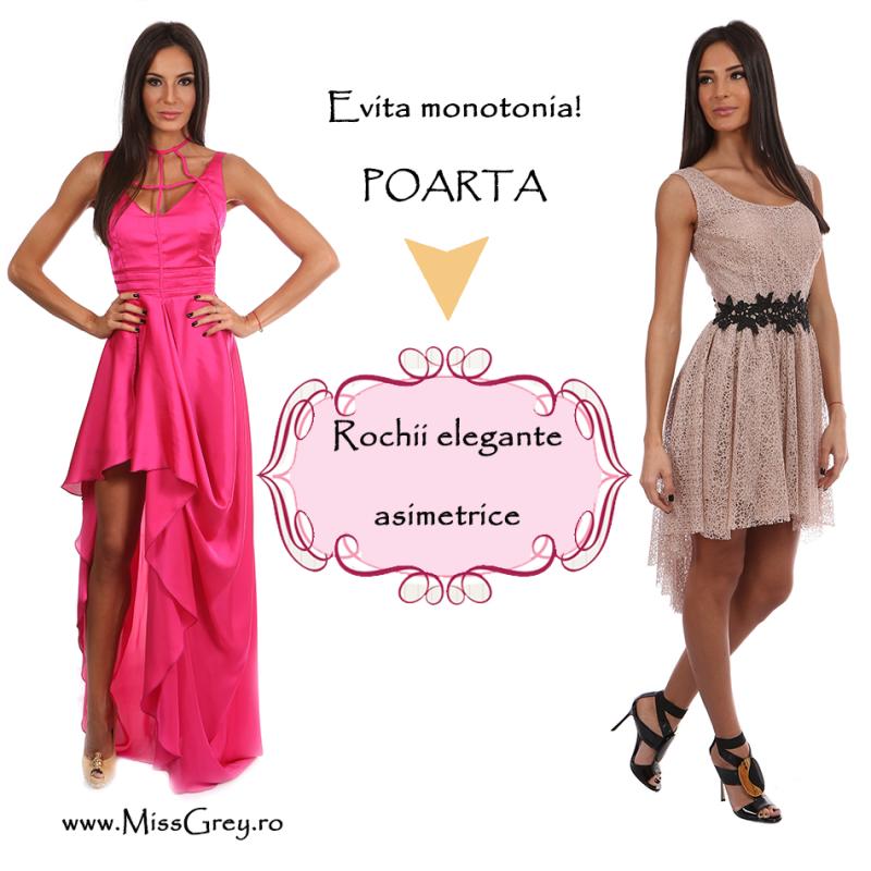 Evita monotonia: poarta rochii elegante asimetrice!