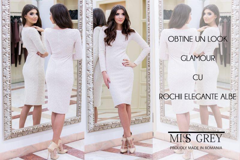 Look glamour in tendinte: rochia eleganta alba