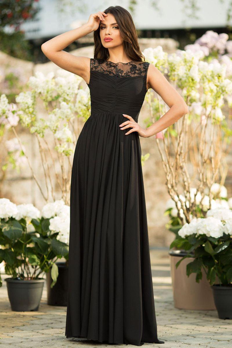 rochie-neagra-lunga-din-voal-cu-dantela