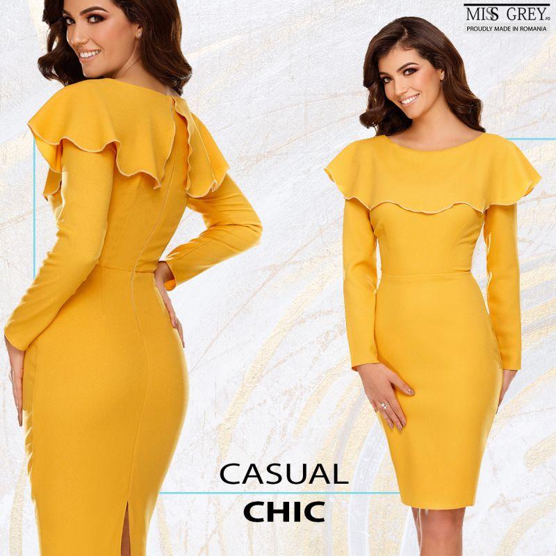 Ce piese vestimentare si accesorii se potrivesc unei rochii galben mustar?
