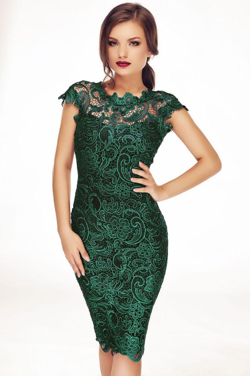 rochie-conica-din-dantela-verde-smarald