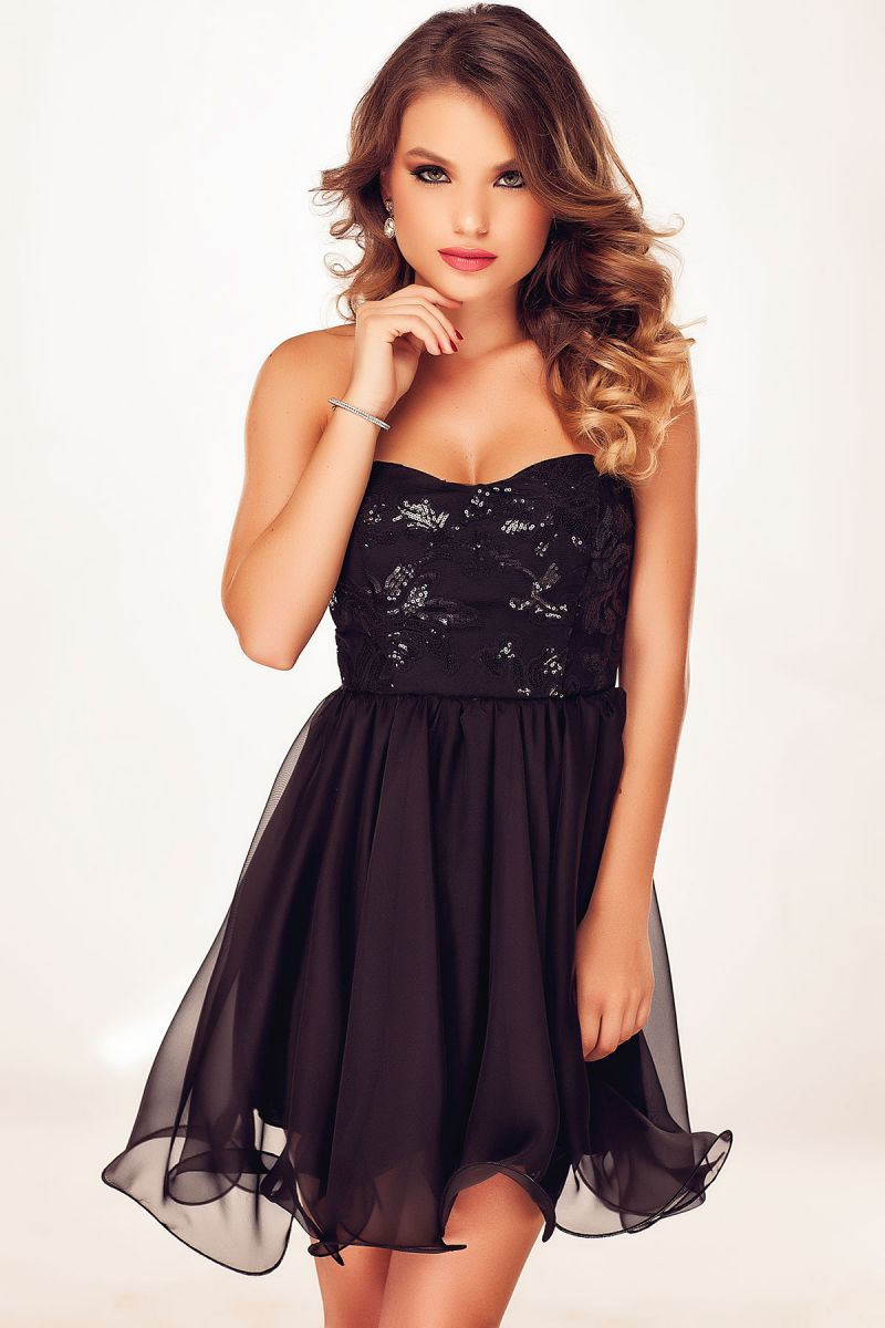Rochii de seara scurte negre - cele mai noi modele Miss Grey