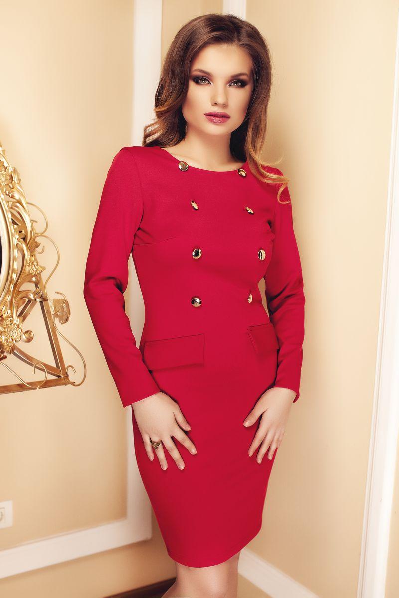 rochie-eleganta-scurta-rosie