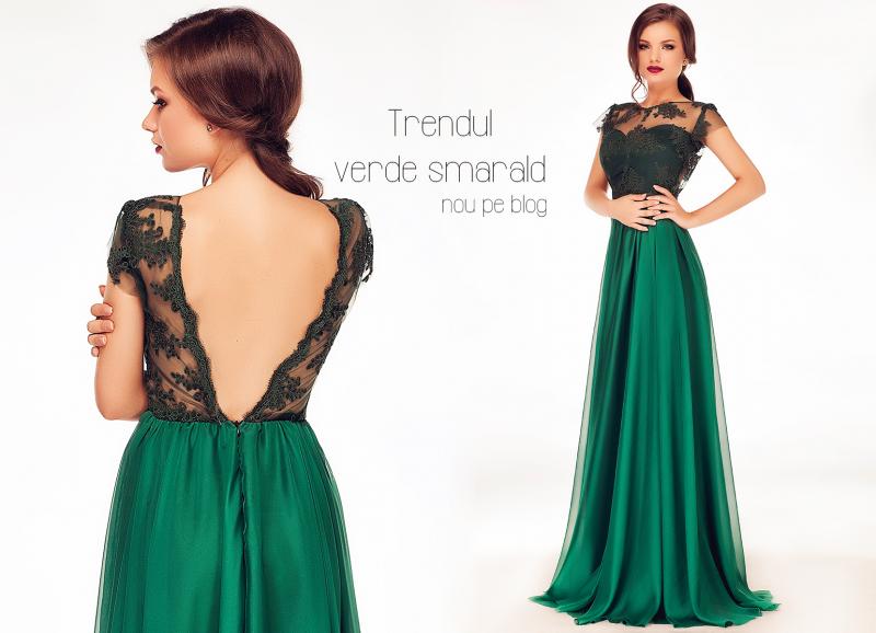 Trendul verde smarald: cum sa porti o rochie lunga verde smarald