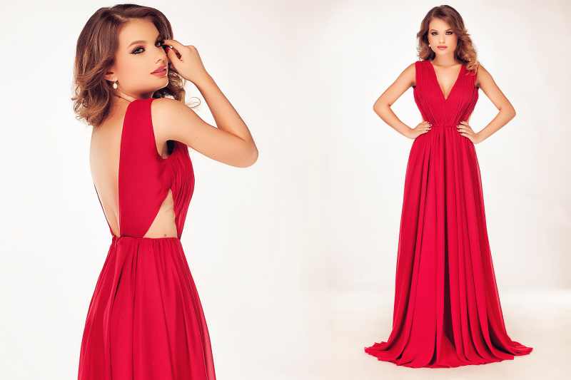 rochie rosie lunga de seara