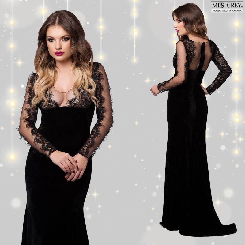 Cum porti rochii lungi din catifea neagra fara sa arati ca o vampirita