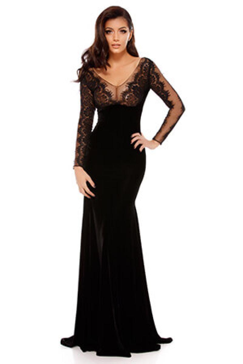 rochie lunga din catifea neagra evita