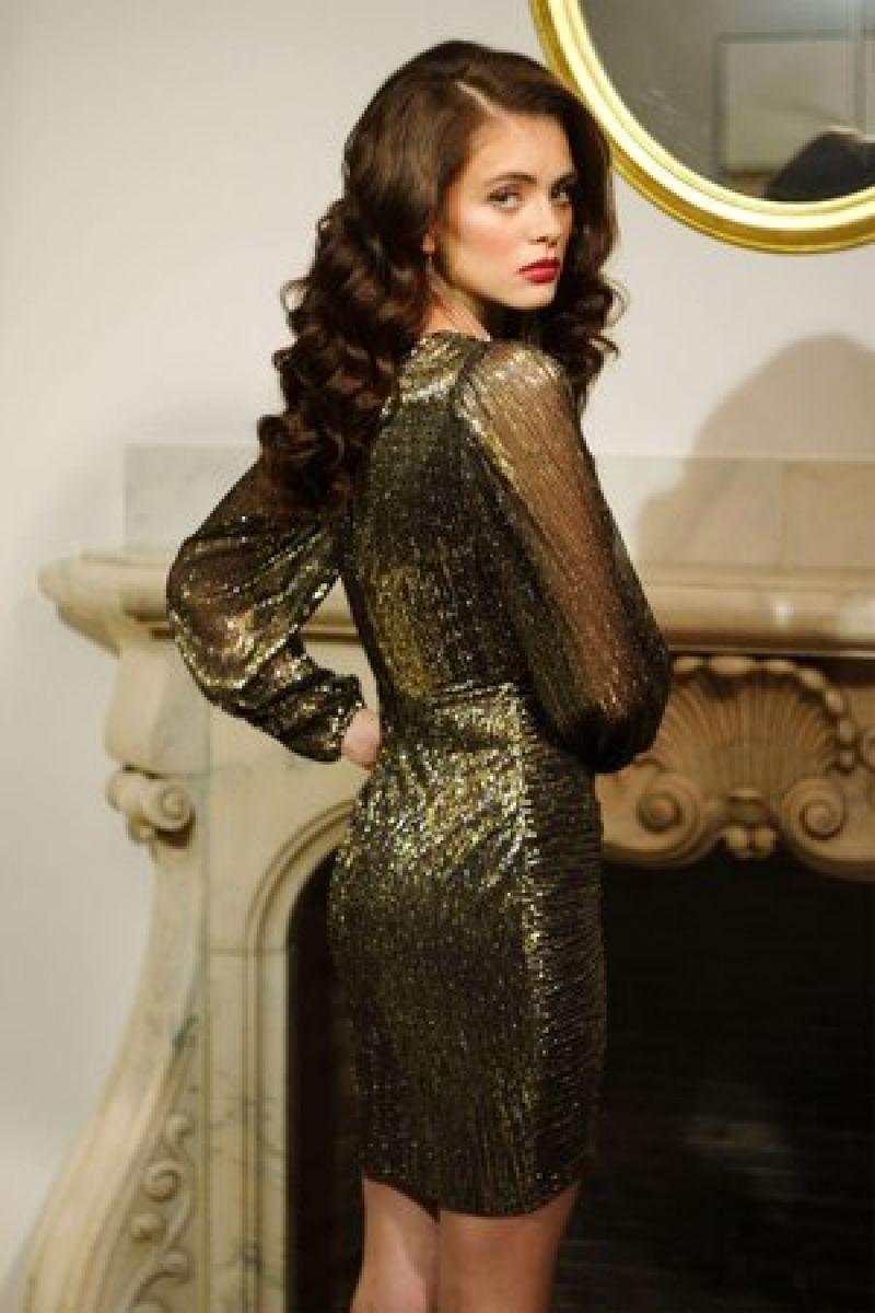 rochie din lurex auriu Jules