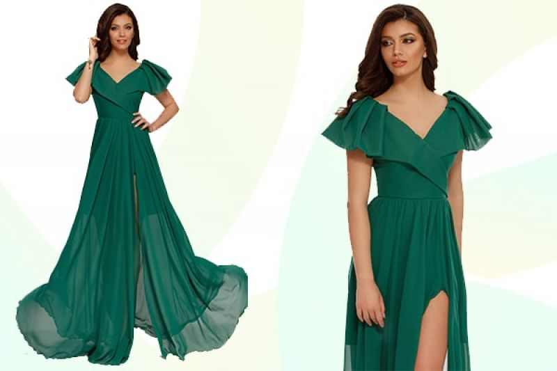 rochie verde lunga Leticia